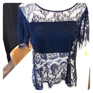 Navy blue lace blouse